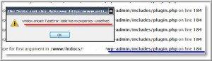 Fehlermeldung beim Aufruf der WordPress-Pluginsoption im Dashboard
