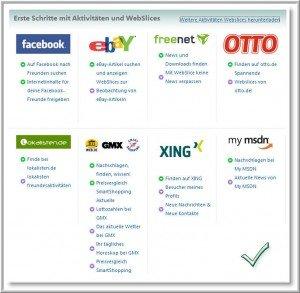 Aktivitaeten und Webslices fuer den Internet Explorer 8 Beta Deutsch