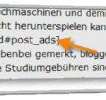 Adsense-Code im HTML-Text eines Beitrages platzieren