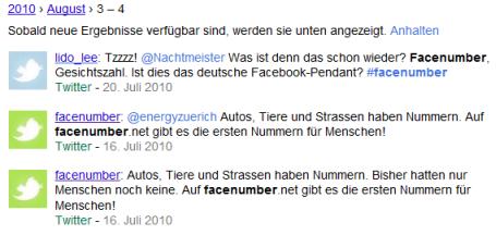 Twitter-Updates ueber Facenumber