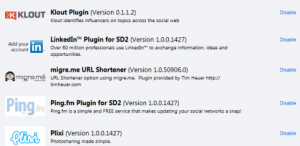 Plugins bei Seesmic Desktop