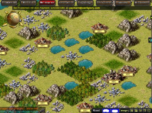 Weltkarte im Browsergame War2 Glory