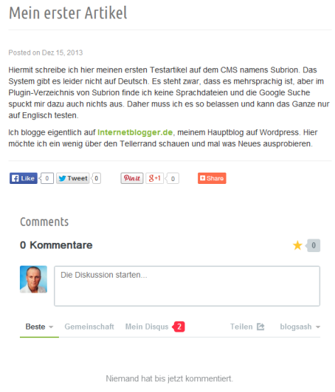 Disqus-Kommentare in Subrion