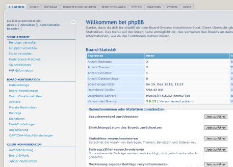 phpBB-Forum im Backend