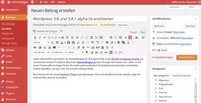 WordPress 3.8 und 3.8.1 alpha ist erschienen