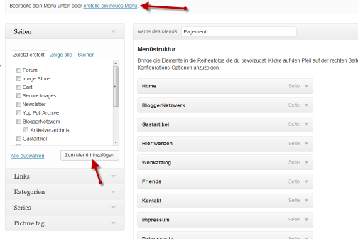 menues in WordPress