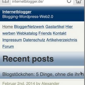 Internetblogger.de mobile Ansicht