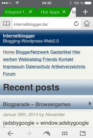 Internetblogger-de mobile Ansicht