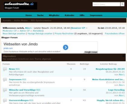 Blogger-Forum bei Webmasterwelten.de