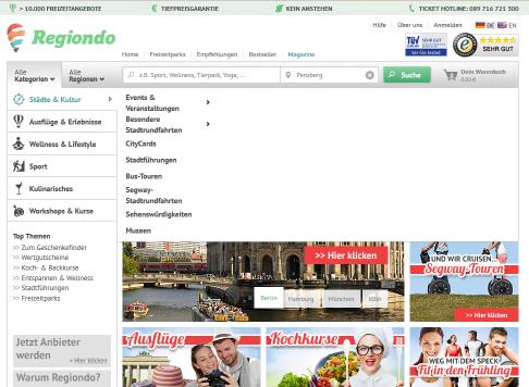 Eine Freizeitaktivität buchen mit Regiondo.de