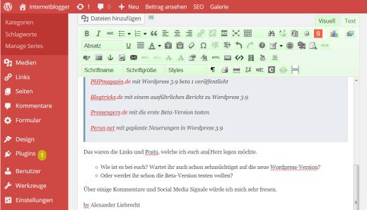 WordPress 3.9 ist erschienen