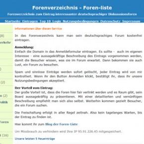 Forenverzeichnis Foren-liste.de