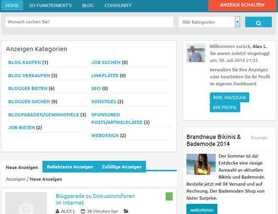 Eigene Anzeigen bei Blogsale.de