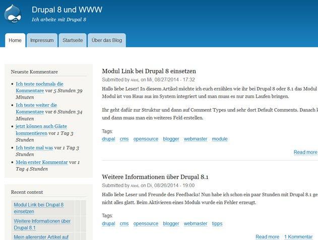 Installation von Drupal 8.1 – Drupal 8 beta lohnt sich noch nicht
