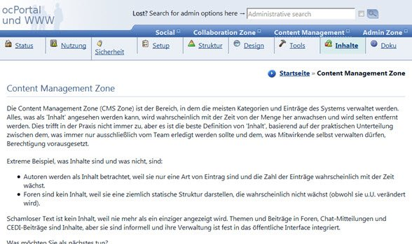 ocPortal deutsch backend