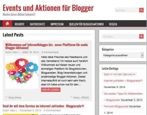 Mein Blogparaden-Verzeichnis unter Internetblogger.biz
