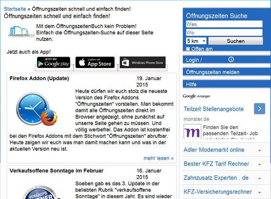Öffnungszeiten entdecken mit einem Firefox AddOn