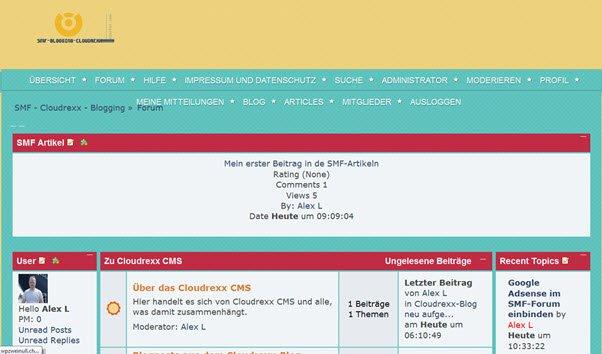 SMF-Forum mit SMF-Artikeln, dem ezPortal und dem SMF-Blog