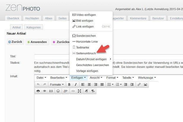 zenphoto-editor-seitenumbruch