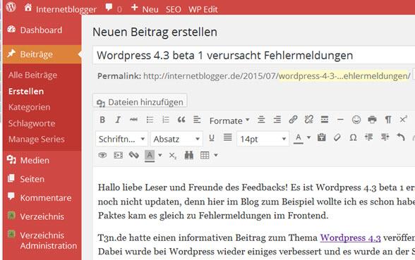 WordPress 4.3 beta 1 verursachte Fehlermeldungen