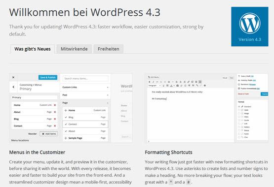 WordPress 4.3 Release Candidate ist erschienen