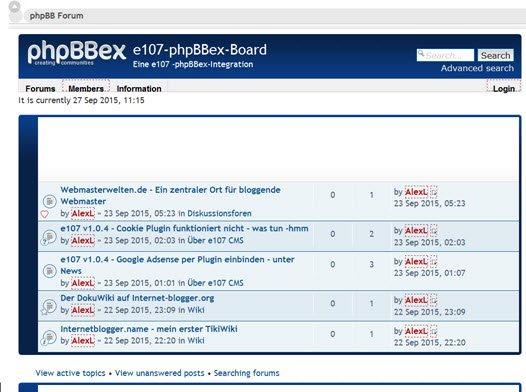 e107v1 phpBBex Forum Frontend