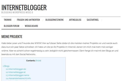 """Interne Seite """"Eigene Projekte"""" aufgeräumt und Inhaltsverzeichnis erstellt mit Thumbnails"""