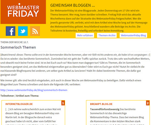 Webmasterfriday.de im neuen Glanz erstrahlt – finde es gut