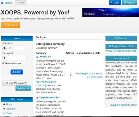 Xoops 2.6 Alpha 3 Installation und Erfahrungen