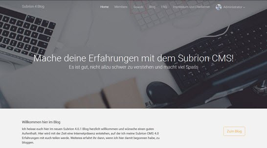 Subrion CMS 4.0 Frontend im Blog