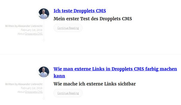 Dropplets CMS im Frontend