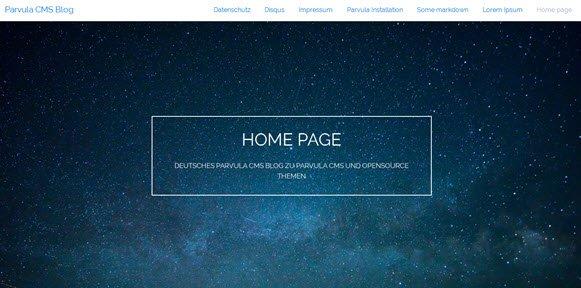 Parvula CMS Webseite im Frontend