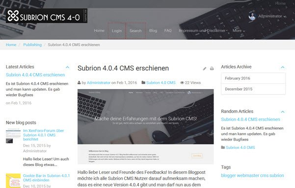 Subrion CMS im Blog-Frontend