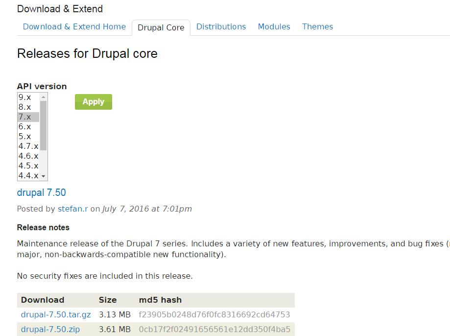 Drupal 7.50 erschienen mit Bugfixes und Verbesserungen
