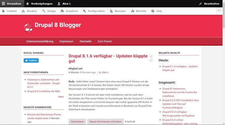 Drupal 8.1.7 online – Sicherheit und Wartung – empfohlen