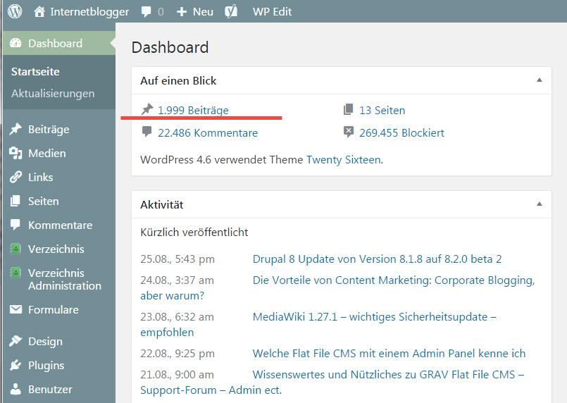 2000 Blogartikel und über 22000 Kommentare auf Internetblogger.de