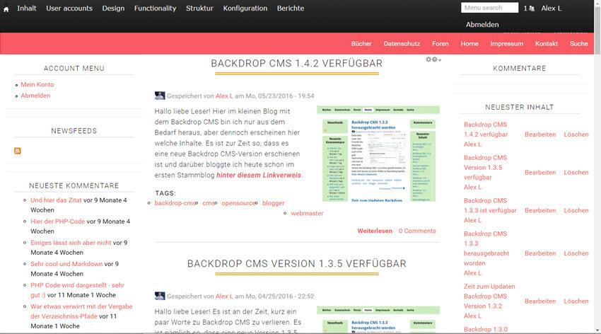 Backdrop 1.4.4 CMS online und meine Update-Hinweise