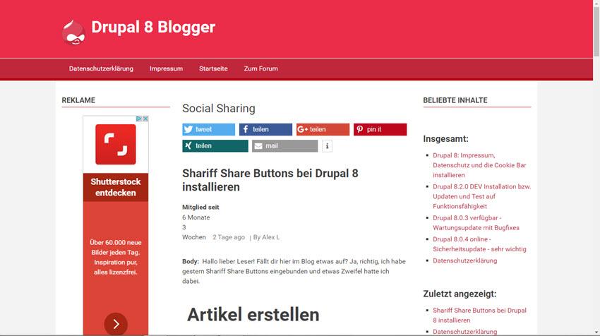 Drupal 8 Update von Version 8.1.8 auf 8.2.0 beta 2