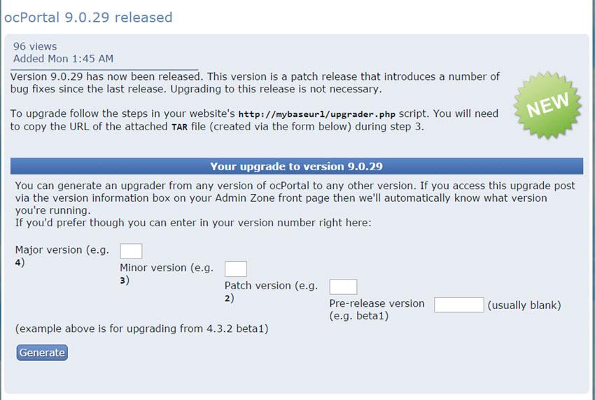 ocPortal 9.0.29 CMS erschienen – Wartungsupdate