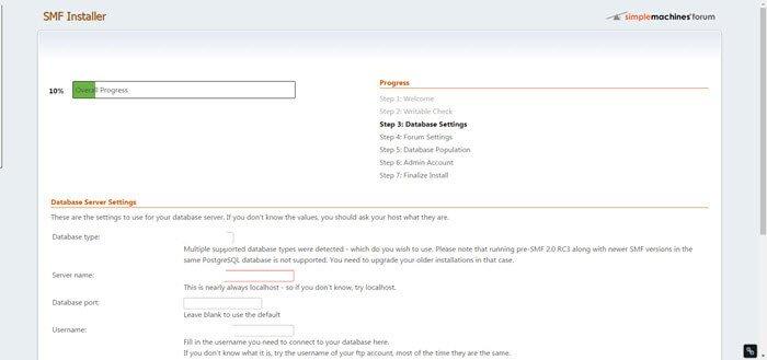 smf-2-1-beta3-forum-installation-centos7-schritt3-datenbank-einstellungen