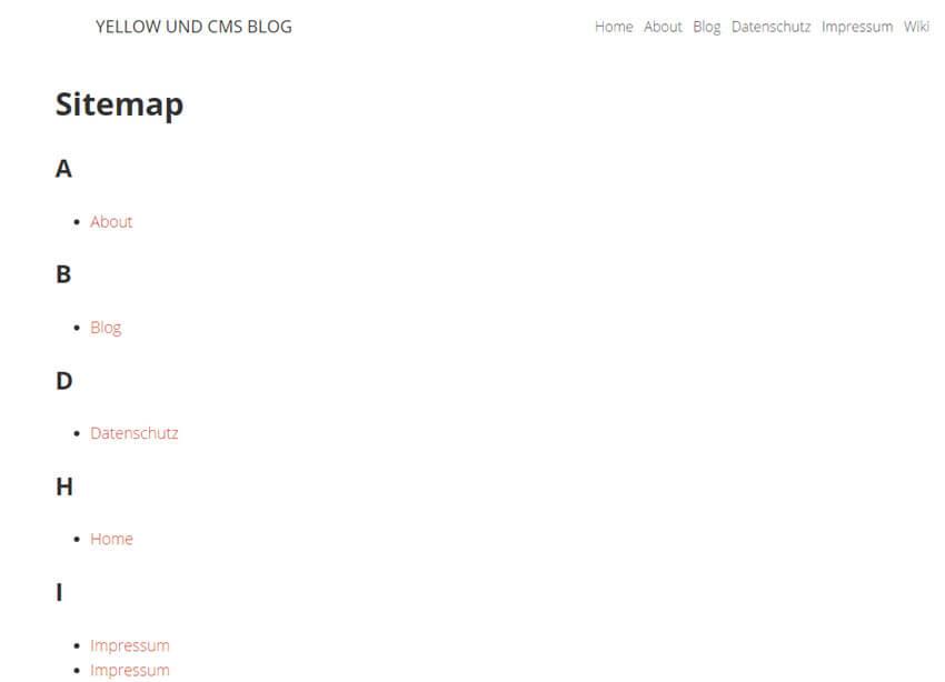 Yellow CMS – Sitemap Plugin installieren