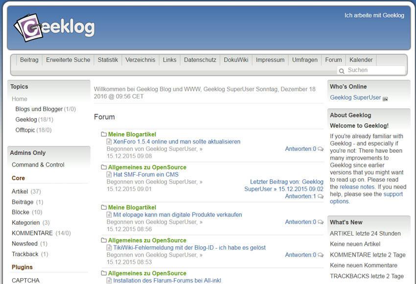 Geeklog 2.1.2 Beta 1 CMS online  – Update-Hinweise