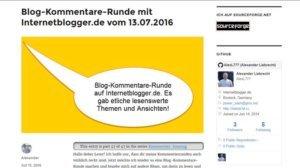 2 Blog-Kommentare-Runden via Internetblogger.de und Rostockerblogger.de