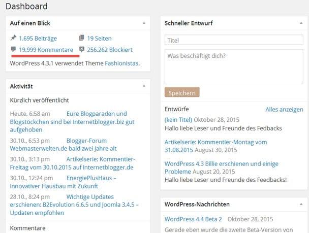Internetblogger.de erreicht die Marke mit den 19999 Kommentaren nach 8.5 Jahren :)