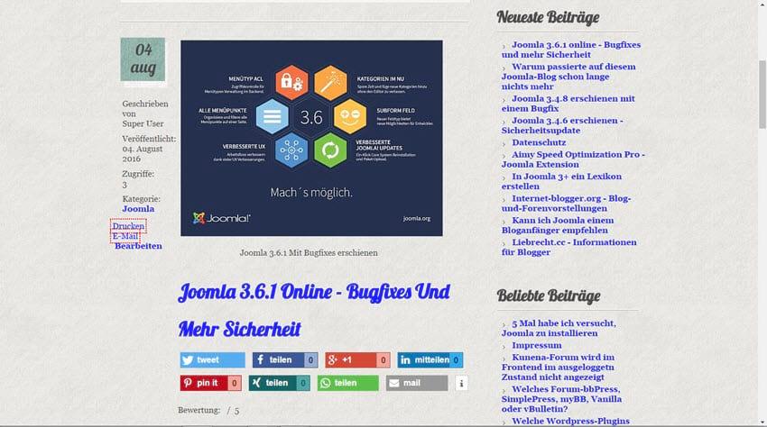 Joomla 3.6.1 Update – Fehlerbehebungen und mehr Sicherheit