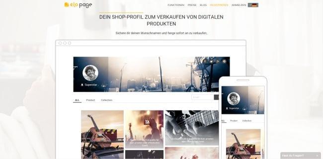 Elopage Webseite