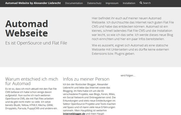 Static Page Generator Automad CMS: Erfahrungen und Installation