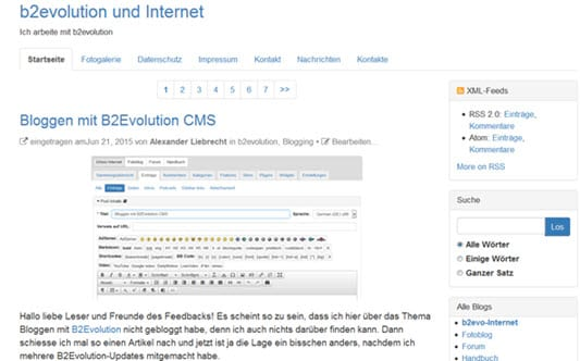 B2Evolution CMS Blog Frontend