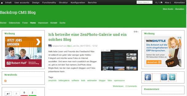 Backdrop 1.2.3 CMS Update online - Updaten empfohlen