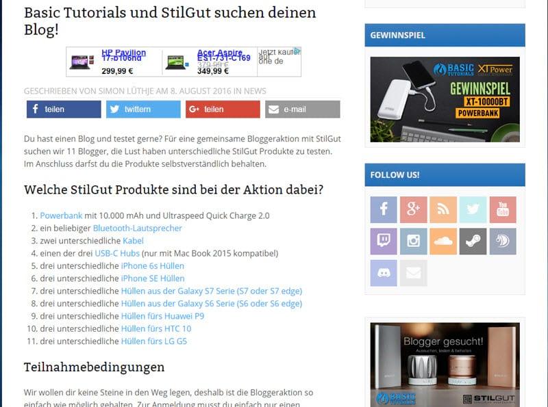 BasicTutorials und StilGut suchen Blogger zum Testen der Produkte